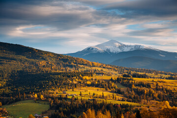 Wall Mural - Idyllic sunny day in autumn mountains. Location place of Carpathian mountains, Ukraine.