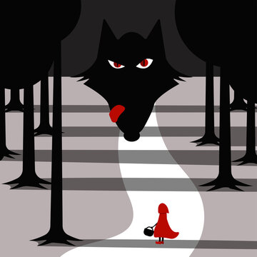 Little red riding hood and wolf waiting for her in forest. vector illustration.