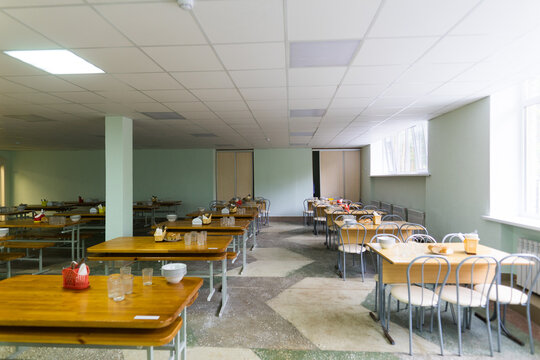 Chairs and tables. The dining hall in school is quarantined, isolation.