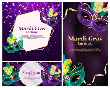 Carnaval Background set.Traditional mask with feathers and confetti for fesival, masquerade, parade.Template for design invitation,flyer, poster, banners. Vector Illustration EPS10