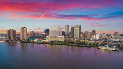New Orleans, Louisiana, USA Downtown Drone Skyline Aerial