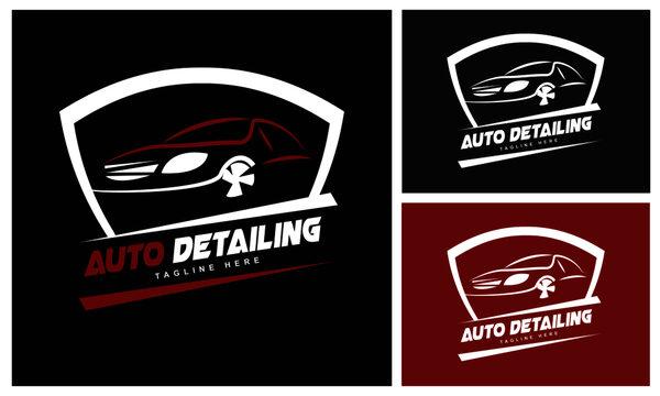Auto Detailing Logo Design Template-Automotive collision logo. Modern Auto Company Logo Design Concept.