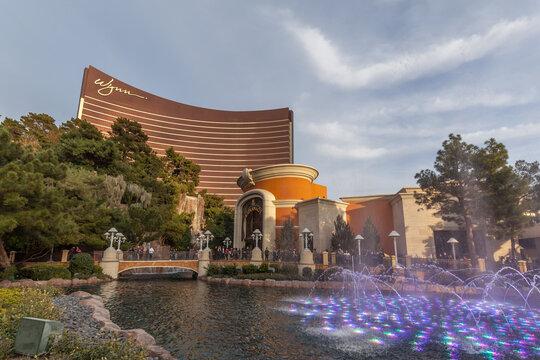 LAS VEGAS, NEVADA, USA - JANUARY 2, 2018: Wynn building. Wynn is a luxury resort and casino resort located on the Las Vegas Strip in Paradise, Nevada, United States.