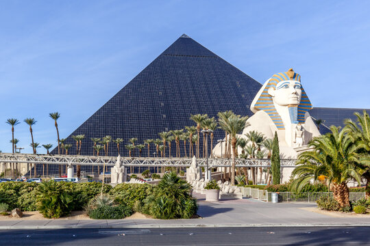 LAS VEGAS, NEVADA, USA - JANUARY 1, 2018: Sign of Luxor in 2018. Luxor is a hotel and casino situated on the southern end of the Las Vegas Strip in Paradise, Nevada, USA.