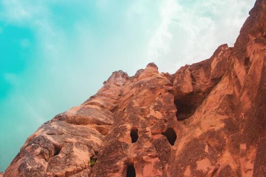 Cappadocia Turkey. Cappadocia fairy chimneys in Turkey. Nevsehir Cappadocia. Mushroom shaped rocks. Volcanic rocks in Turkey