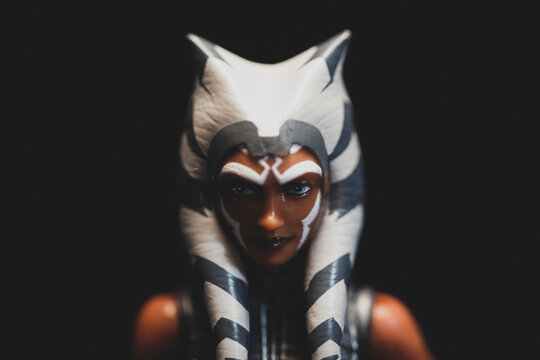 NEW YORK USA, DEC 20 2020:  Portrait of cartoon character Star Wars Jedi Ahsoka Tano - Hasbro Action Figure