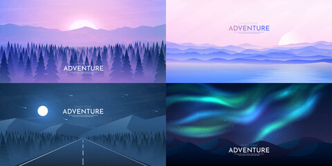 Vector illustration. Landscapes collection. Flat cartoon polygonal concept. Web template. Modern futuristic style. Triangle shapes. Misty forest, sunset scene, night highway, aurora borealis