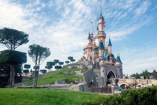 Castle of Sleeping Beauty at Disneyland Paris August 28, 2019, Paris, France.