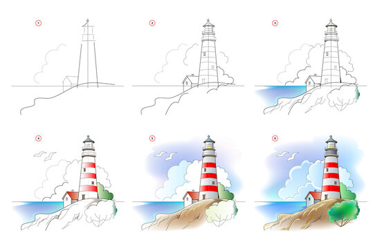 How to learn to draw sketch of landscape with lighthouse. Creation step by step watercolor painting. Educational page for artists. Textbook for developing artistic skills. Online education.