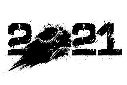 Abstract numbers 2021 and baseball ball made of blots in grunge style. 2021 New Year on an isolated background. Design pattern. Vector illustration
