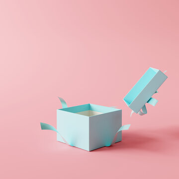 Open blue gift box on pastel pink background. 3d rendering