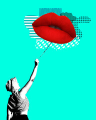 Modern art collage of woman holding lips blloon and vintage shapes.