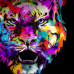image of a tiger with colorful splashes