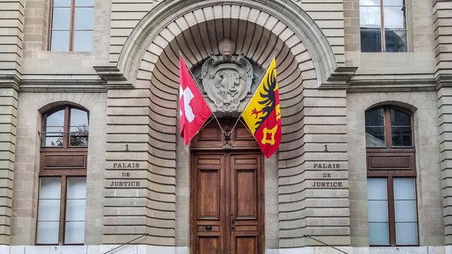 Close up on Justice court entrance in Geneva, Switzerland
