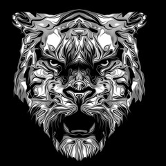 monochrome image of a tiger on black