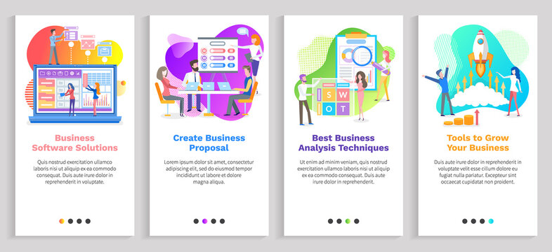 Best analysis techniques vector, seo optimization and development, conference of people with whiteboard and plans, laptops and planning strategy. Website or slider app, landing page flat style