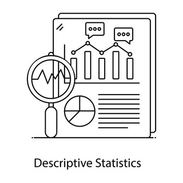 Descriptive flat outline vector showing, summarize characteristics
