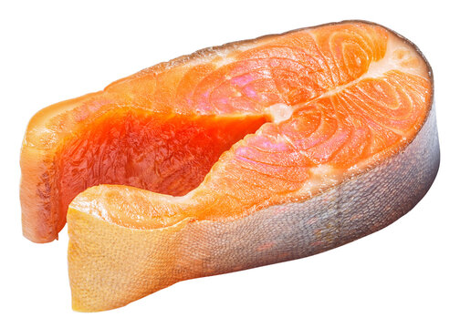 Smoked arctic char steaks, isolated on white