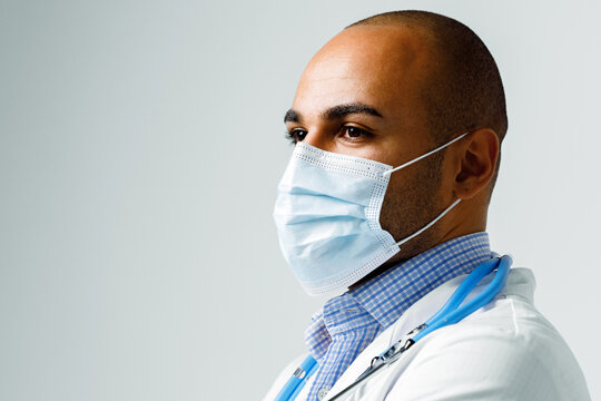 Portrait of african american doctor in medical mask