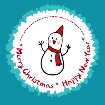 12월 크리스마스 기념 만화타입 일러스트: 눈사람