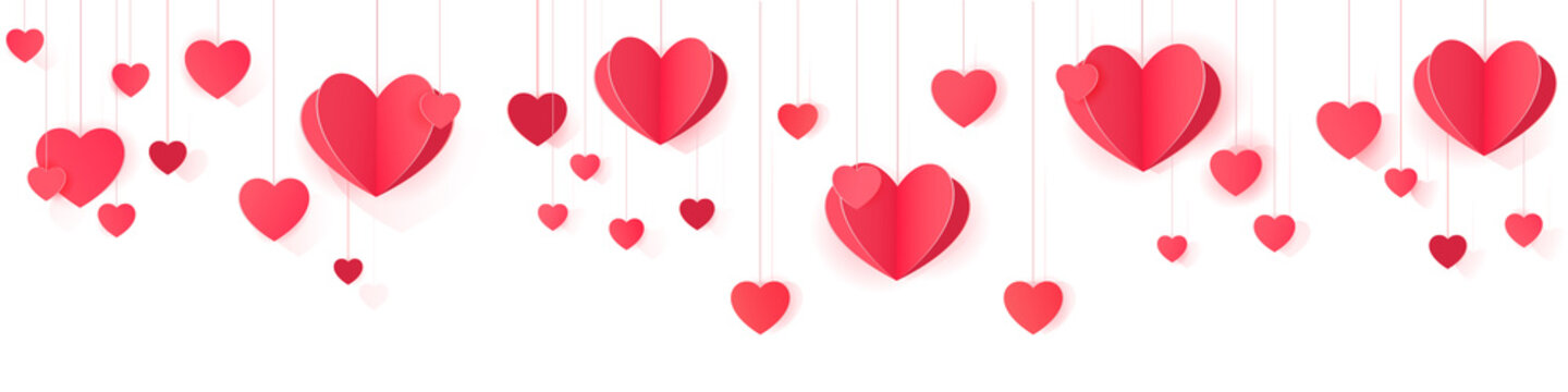 Seamless web banner of hanging paper hearts for website header decor and package design.