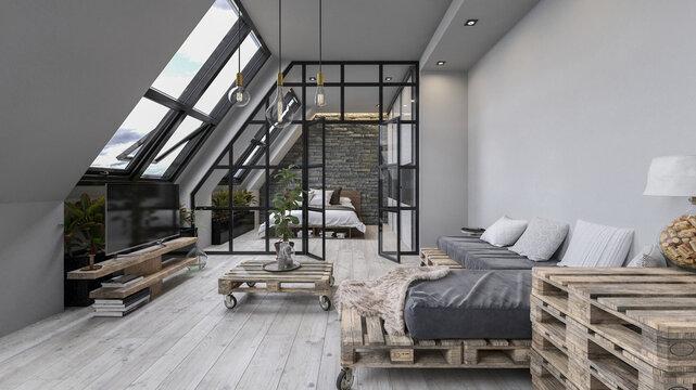 Cozy loft living room interior in an attic.