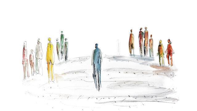 Spaltung der Gesellschaft, Mensch in mitten einer Gruppe.  Abstand halten und Kontakte einschränken. sich einsam und isoliert fühlen