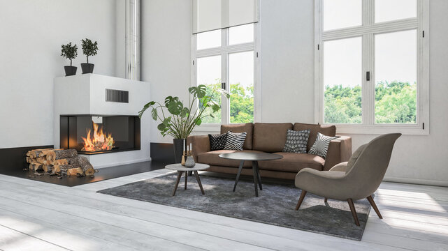 Modern white living room with fireplace