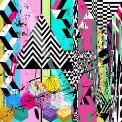abstract background, with paint strokes, splashes, stripes, polygon and triangles