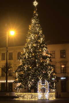 A Christmas tree at the City Hall in Lublin