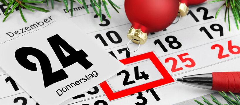 Kalender Weihnachten 2020 und Dekoration