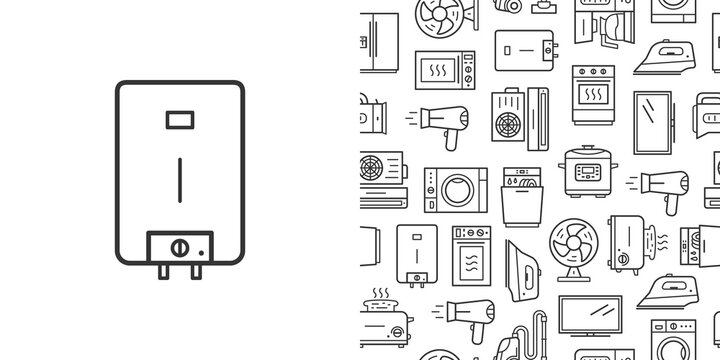 Water heater icon and vector seamless pattern with household appliances. Line style icons isolated on white background