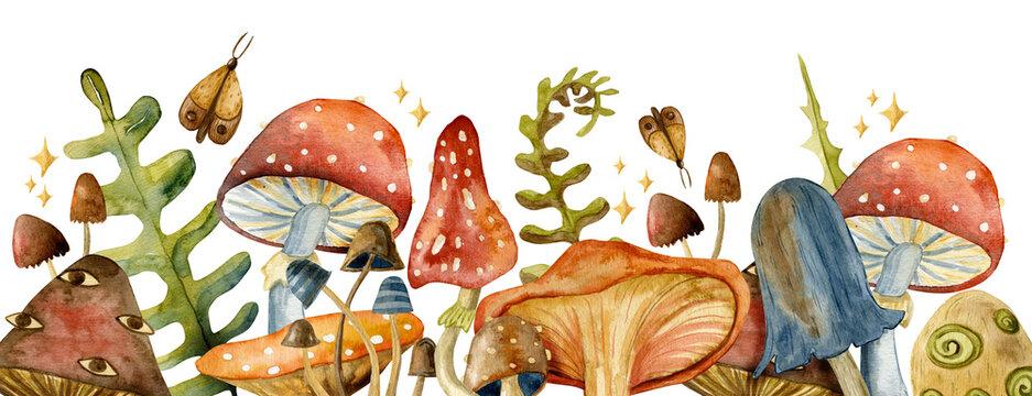 Border toadstool mushroom with red fly-agaric mushrooms.  Watercolor mushrooms.