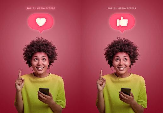 Neon Social Media Icon Effect Mockup