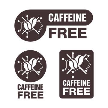 Caffeine Free sticker in 3 versions