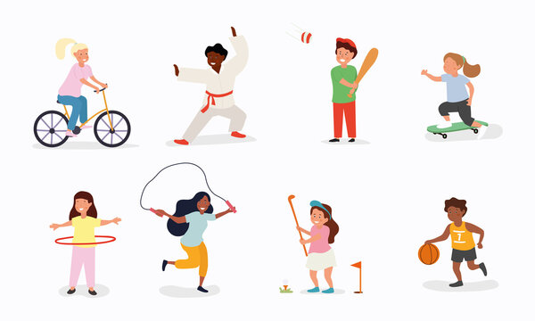 Happy children playing sport game, doing physical exercise. Training set. . Active healthy childhood. Flat vector cartoon illustration isolated on white background