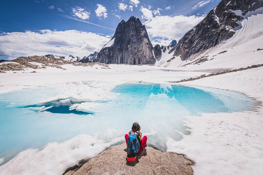 Rock climber in Bugaboo Provincial Park, British Columbia, Canada