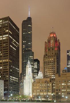 Illuminated Tribune tower, Chicago, USA