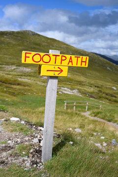 Directional sign in Scottish Highlands