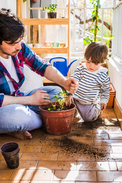 Man putting mud in strawberry plant pot while sitting by boy at balcony