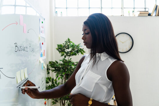 Businesswoman planning about business strategy while standing by whiteboard at office