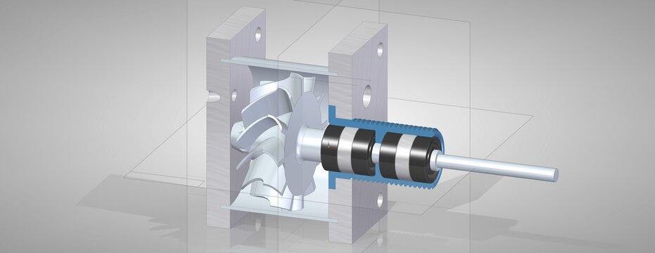 3D model, render CAD design turbine, propeller, turbo, rotor, fan, shaft, blade