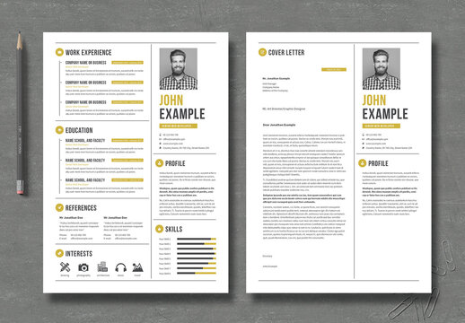Resume and CV Layout with Gold Elements