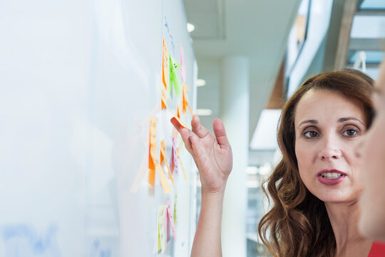 Female colleague pointing out at sticky notes during office meeting