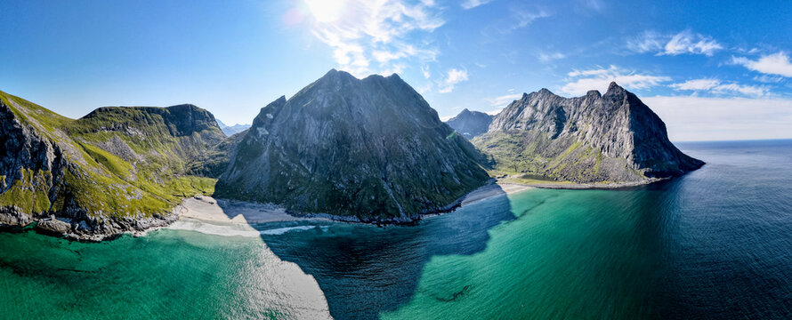 Scenic view of Kvalvika beach at Lofoten, Norway