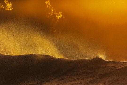 Sea waves during sunset at Huraa Island, Maldives