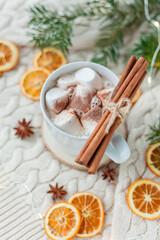 Christmas home decor. Cocoa with marshmallows.