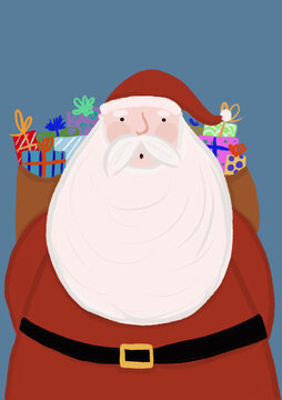 Clip art of Santa Claus carrying bag of presents
