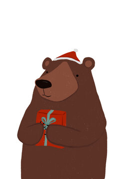 Clip art of brown bear wearing Santa hat holding Christmas present