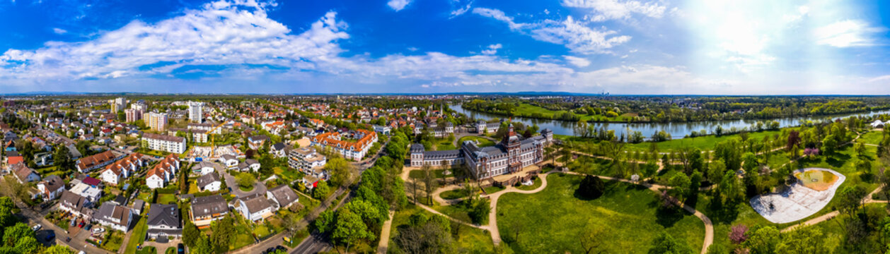 Germany, Hesse, Hanau, Helicopter view of town on bank of river Main in summer